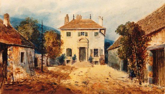 Habitation d'Alphonse de Lamartine à Milly. Dessin du marquis de Courval (1826)
