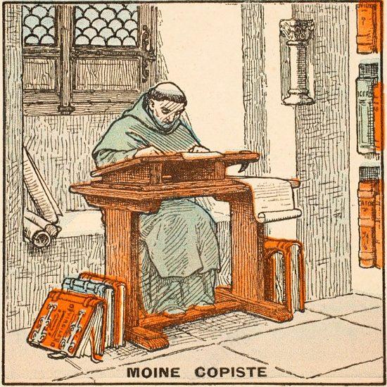 Moine copiste. Illustration extraite de Histoire de France, par Gustave Gautherot (1934)