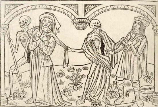 Gravure sur bois de Pierre le Rouge extraite de La danse macabre des hommes et des femmes (1486)