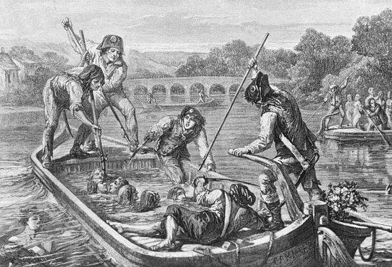 16 novembre 1793: A Nantes, l'infâme Carrier fait noyer 90 prêtres réfractaires dans la Loire Noyades-nantes-2