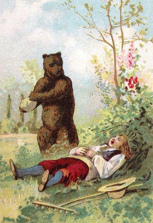 Ours et enfant. Chromolithographie réalisée vers 1910