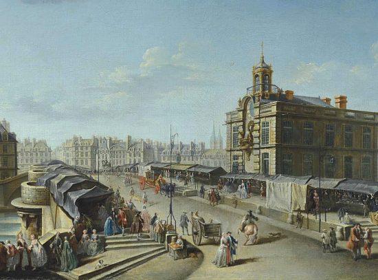 La fontaine de la Samaritaine et le Pont Neuf. Peinture de Nicolas Raguenet (1754)