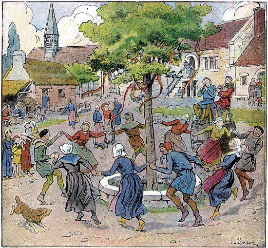 Paysans libres du XIVe siècle dansant autour d'un arbre de mai. Chromolithographie de 1930 de J.-L. Bezon