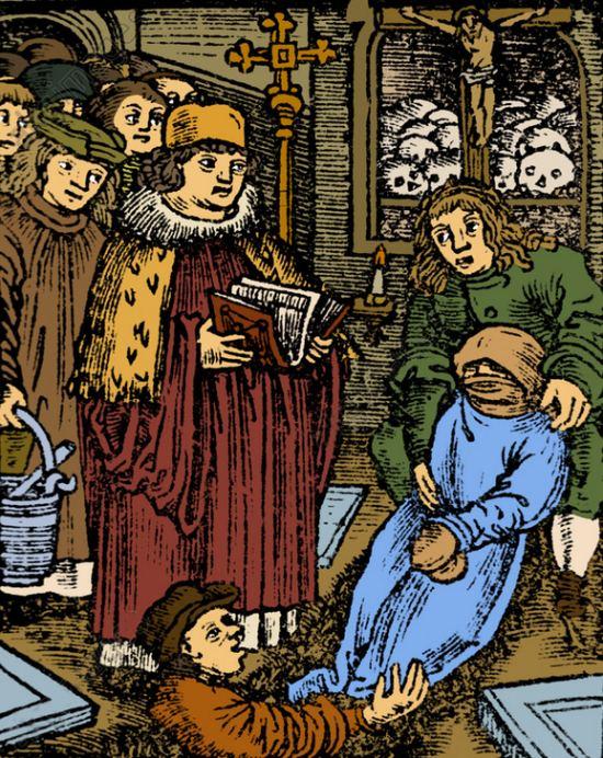 Cérémonie d'enterrement d'une victime de la peste noire au XIVe siècle. Gravure (colorisée ultérieurement) du temps