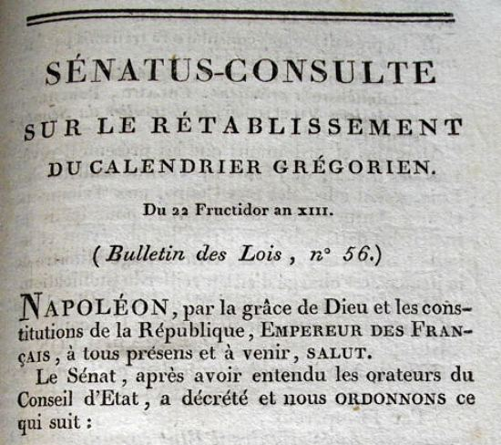 Calendrier Gregorien Et Republicain.1er Janvier 1806 Retablissement Du Calendrier Gregorien